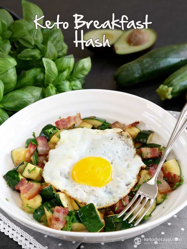 Keto Breakfast Hash - zucchini, bacon, white onion, ghee/coconut oil, fresh parsley/chives, salt, egg