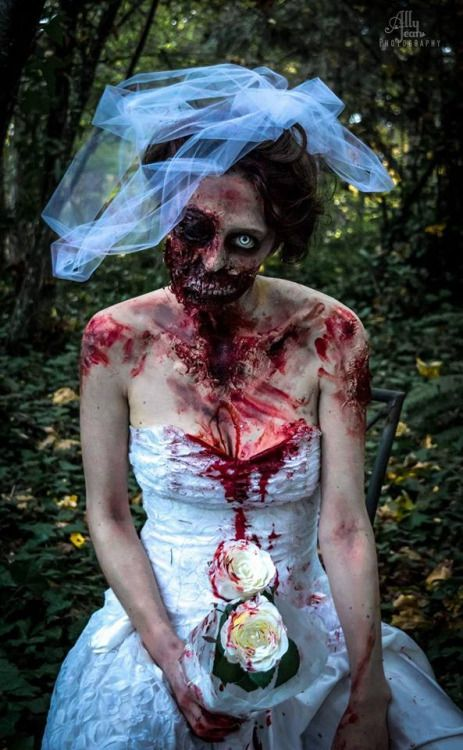 Zombie Bride getting ready for zombie walk, 2015. Makeup and costume by Leyla Mitchell, photography by Ally Jean.