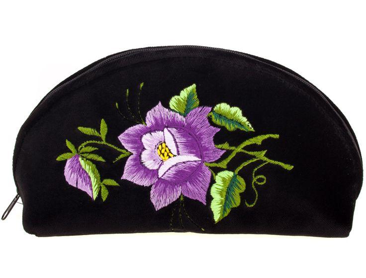 Haftowana duża folk kosmetyczka łowicka - róża fioletowa