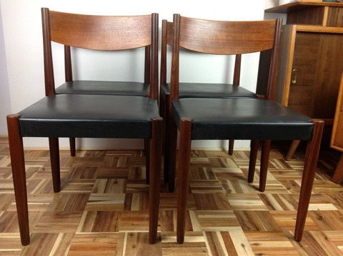 4 X Danish DIning Chairs By Frem Rojle Designed Poul Volther