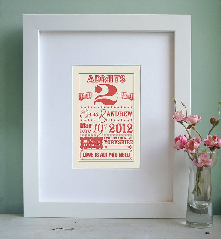 address wedding invitation unmarried couple%0A Personalised Carnival Wedding Ticket Print