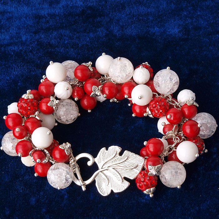 """Авторский браслет из красного коралла и горного хрусталя """"Калина в снегу"""". Цена 520 грн. http://stefi.com.ua/catalog/element/braslet-iz-kamney-kalina-v-snegu/"""