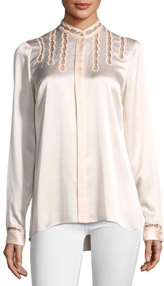 17a96046153458 Elie Tahari Samaira Silk Lace-Cutout Blouse
