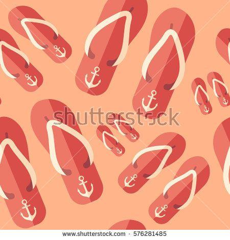 Beach slippers flat icon seamless pattern. #summerpatterns #vectorpattern #patterndesign #seamlesspattern