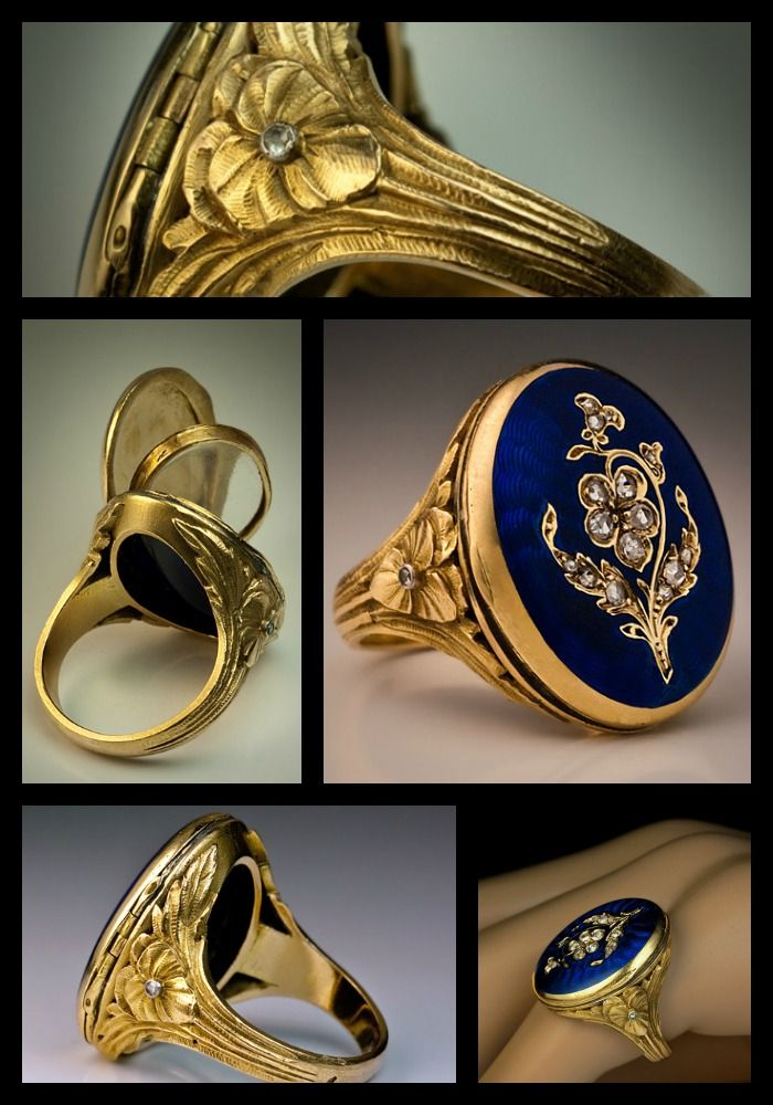 Antique French Guilloche Enamel Locket Ring, circa 1880.   ::  The cover of the secret compartment is decorated with a diamond flower (rose-cut diamonds) on a royal blue guilloche enamel ground.   This type of rings is also known as poison rings.  The shoulders are finely chased with stylized flowers and foliage in Art Nouveau taste.  The ring is set with a miniature glazed compartment suitable for a miniature portrait.  18 Karat greenish yellow gold.