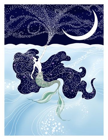 The Little Mermaid art print by LikeARadio on Etsy. blue, stars, moon, water, ocean, sea, magic, mermaid, posted, drawing, illustration, swim, sky 'this is so beautiful