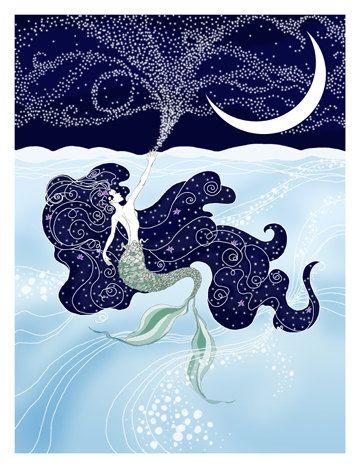 The Little Mermaid art print by LikeARadio on Etsy.  blue, stars, moon, water, ocean, sea, magic, mermaid, posted, drawing, illustration, swim, sky