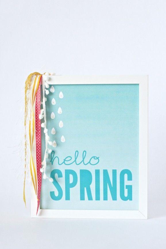 """12 Free Spring Printables :: Love this """"hello spring"""" art print from @PagingSupermom.com.com.com #blue #sign #simple #printable"""