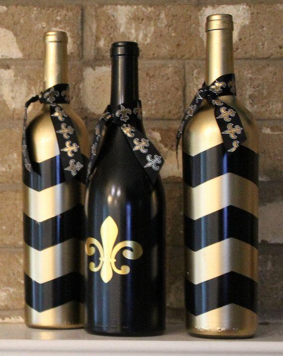 New Orleans Saints Wine Bottles Football Decor