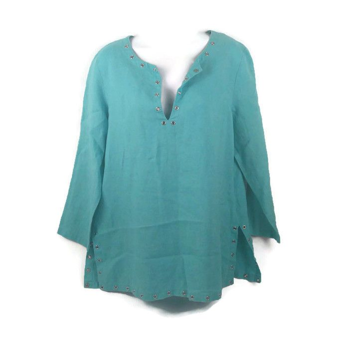 Michael Kors Womens Med Turquoise Shirt Metal Rivet Long Sleeve V Neck #MichaelKors #Tunic #Career