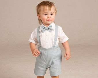 Boy linen suit ring bearer outfit baby boy clothes SET by Graccia