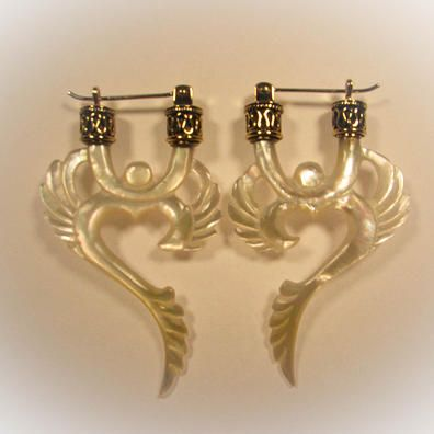 Winged Ohm Earrings (Yellow Shell) Liquid Fire Mantra - http://www.liquidfiremantra.com/