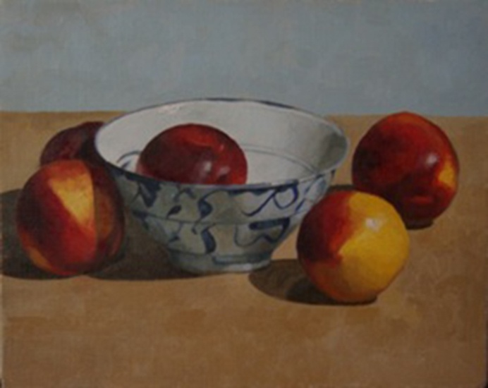 """Chinese Bowl with Nectarines"" by artist Bruce Rowland from the Cooks Hill Galleries 2013 Autumn Catalogue. #Art #AustralianArt #CooksHillGalleries #CHG #Painting"
