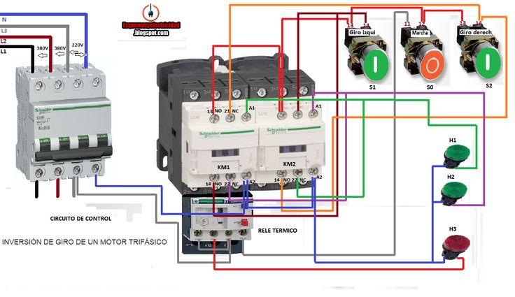 Esquemas eléctricos: MANIOBRA INVERSIÓN DE GIRO MOTOR TRIFASICO PASANDO...