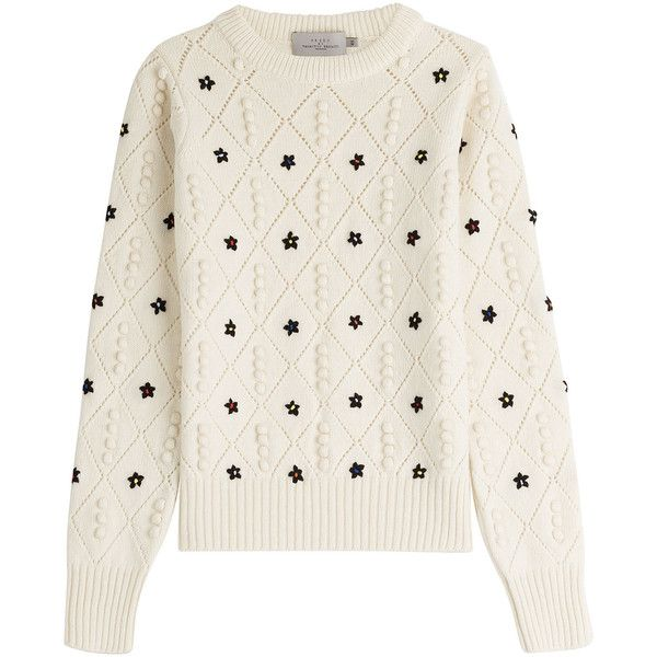 Preen by Thornton Bregazzi Embroidered Wool Pullover (29995 DZD) ❤ liked on Polyvore featuring tops, sweaters, jumpers, shirts, long sleeves, beige, long-sleeve shirt, long sleeve shirts, white shirt and white polka dot shirt