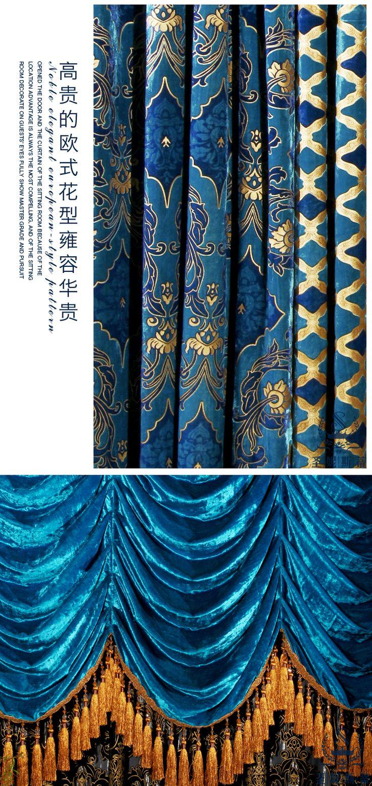 Слепых мода гостиная занавес павлин синее flannelet bronzier занавес готовые занавес жалюзи бусины бархатные шторы купить на AliExpress