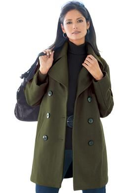 Wool-Blend Pea Coat | Plus Size Winter Coats | Jessica London