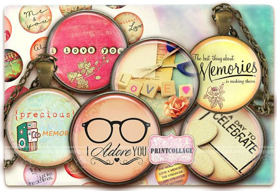 Digital Collage Sheets  Memories  Cabochon images by PrintCollage