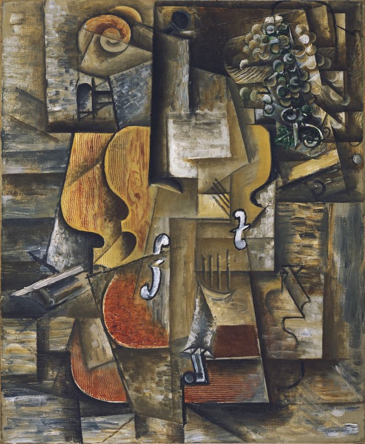 """Pablo Picasso, """"Violin et raisin"""", 1912. Cubism is a style of painting where artists drew simple geometric shapes with different perspectives. It is an evident style used in the painting to create the """"cubed"""" painting with different perspectives of the violin and the grapes."""