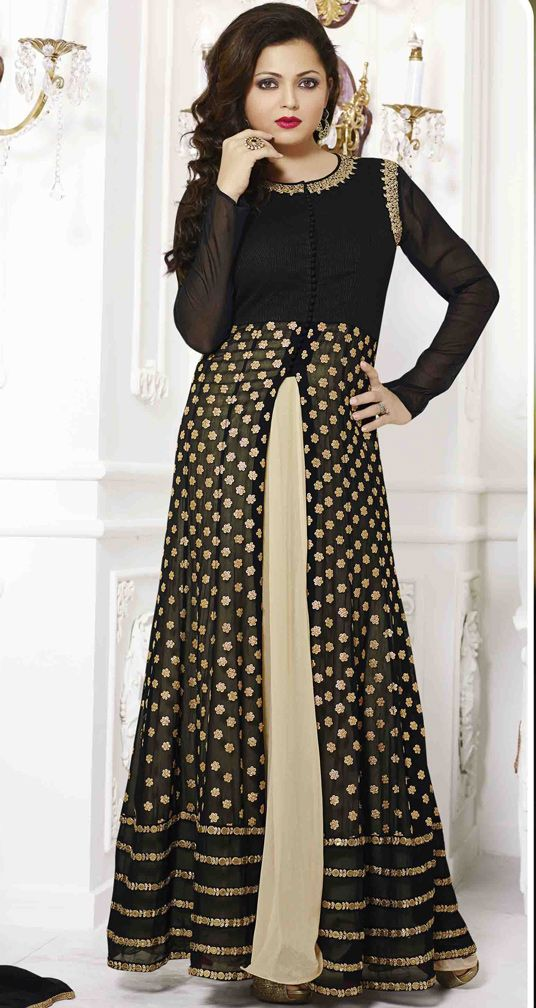 USD 67.26 Drashti Dhami Black Georgette Bollywood Suit 54441
