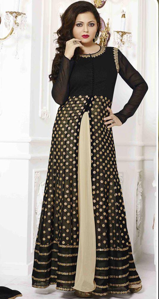 USD 67.26 Drashti Dhami Black Georgette Bollywood Suit 54441
