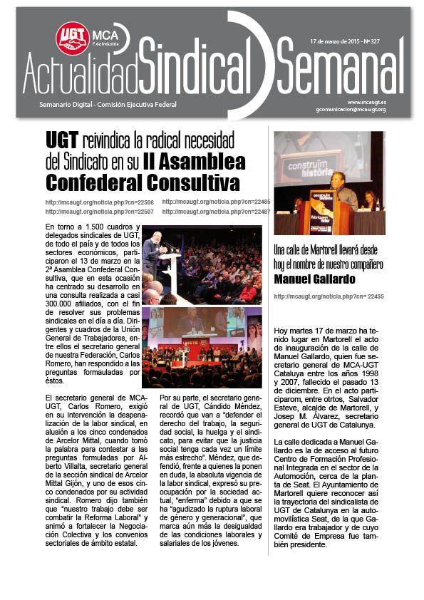 Ha salido Actualidad Sindical Semanal 327 http://mcaugt.org/noticia.php?cn=22516