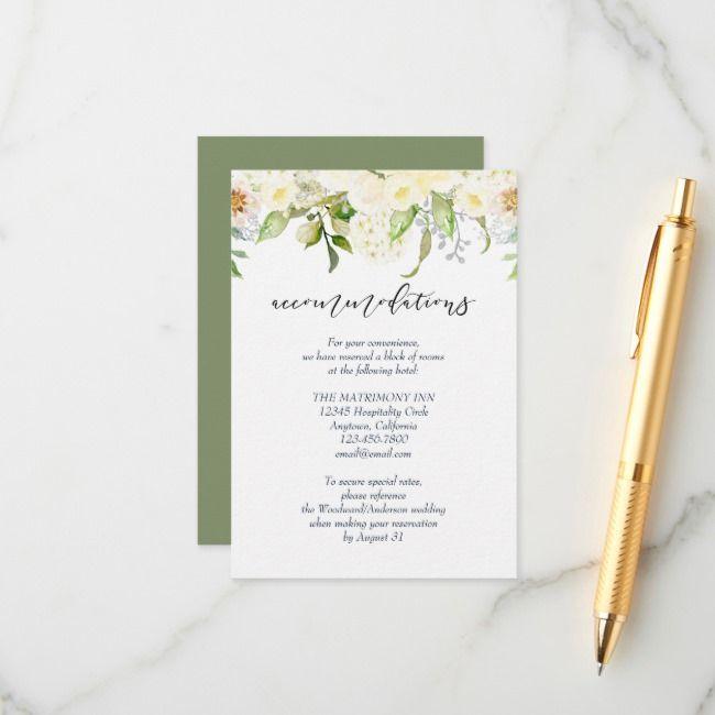 Romantic Ivory Cream Floral Wedding Accommodations Enclosure Card Zazzle Com Wedding Accommodations Floral Wedding Enclosure Cards