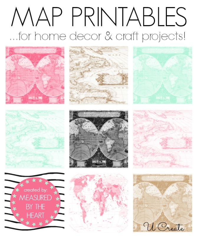Free Map Printables for home decor and craft projects! 12 to choose from!