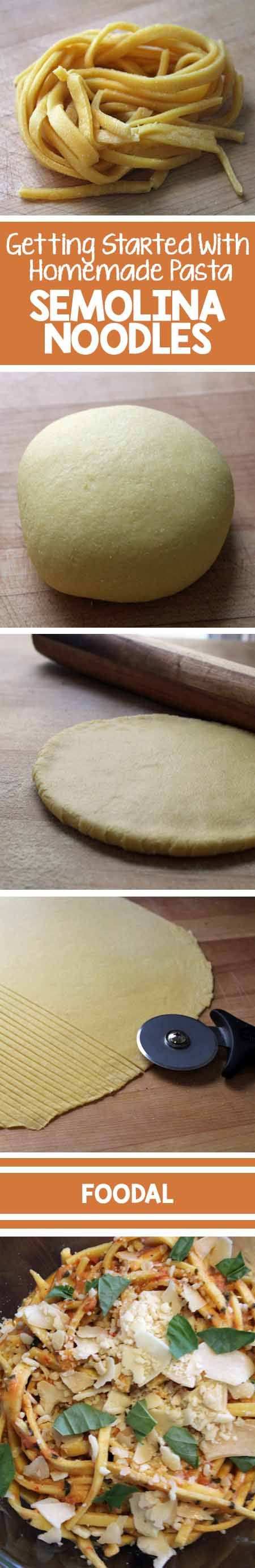 Want to try your hand at homemade pasta? If so, a basic Semolina style is the easiest way to begin. Let Foodal show you step-by-step how to turn ordinary flour into noodle goodness. Read now to get the recipe and a bunch of bonus tips and techniques.  http://foodal.com/recipes/pasta/basic-semolina/