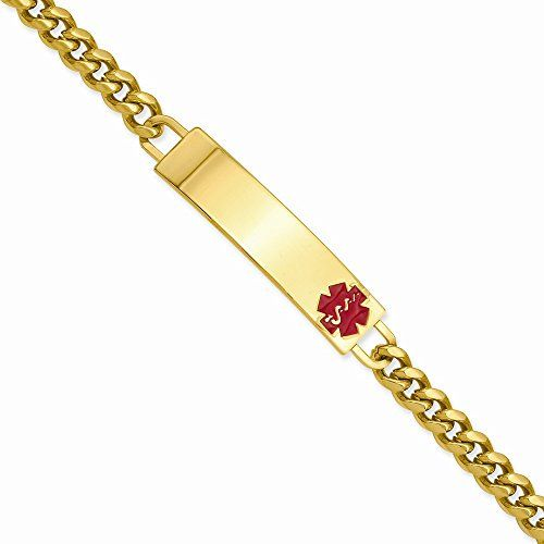 Best Birthday Gift 825in Goldplated Large Red Epoxy Medical ID Bracelet *** Check this out by going to the link at the image.