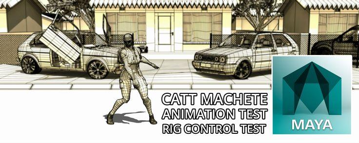 Autodesk Maya 2016 Catt Machete Wireframe Animation Rig Test (Free 3D Mo...