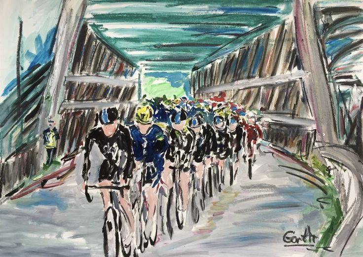 Geraint Thomas leads the peloton over Keadby Bridge Tour of Britain stage 3 2017