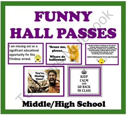 Funny Hall Passes For Middle/High School Students  product from Presto-Plans on TeachersNotebook.com