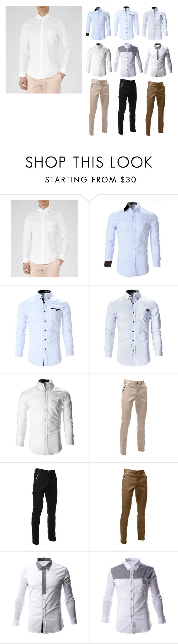 """White shirt for men"" by flatseven on Polyvore featuring men's fashion and menswear"