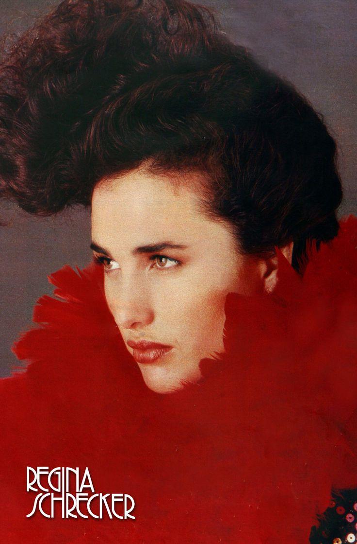 Andie McDowell wears Regina Schrecker, Fall/Winter 1984-85