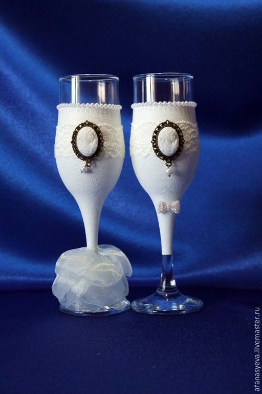 """Купить Свадебные бокалы """"Афродита"""" (жених и невеста) - свадебные аксессуары, челябинск, классический стиль, винтаж"""