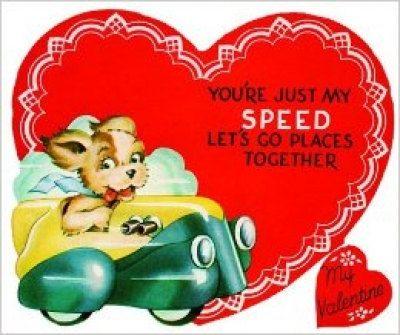 Vintage Puppy Driving Car Valentineu0027s Day By HechoDeCorazon, $2.25