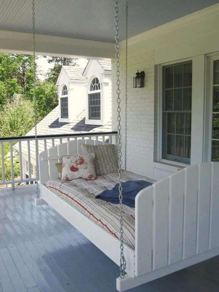 twin bed converted into a porch swing - Front Porch Swing