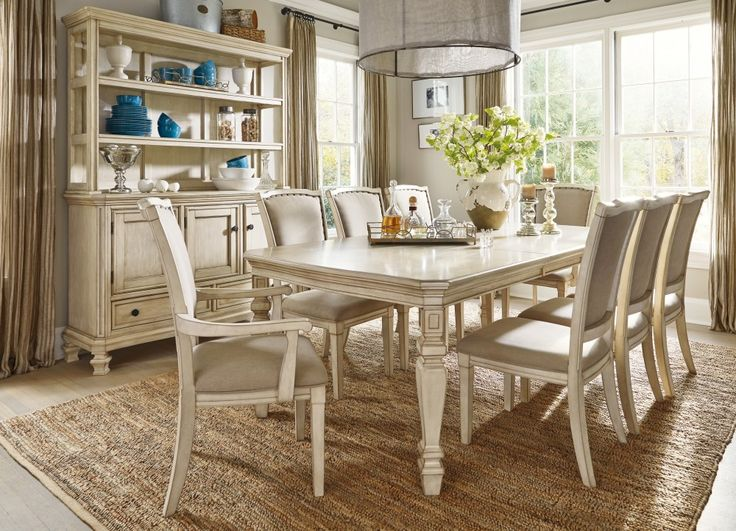 Demarlos Dining Room Extension Table 6 UPH Side Chairs 2 Arm