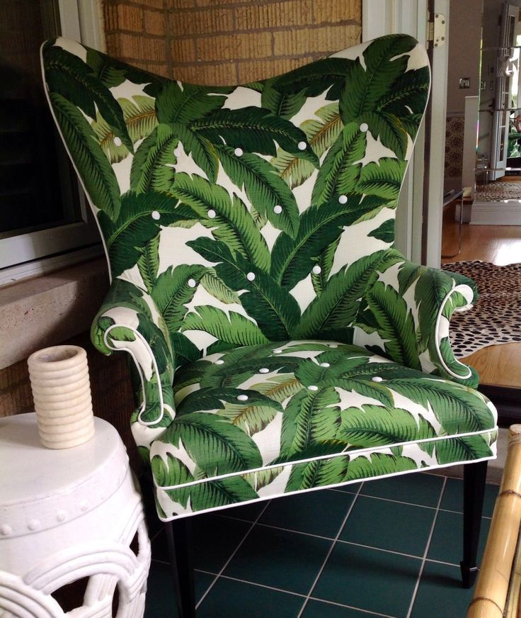 Love This Palm Print Wing Back Chair Home Palm