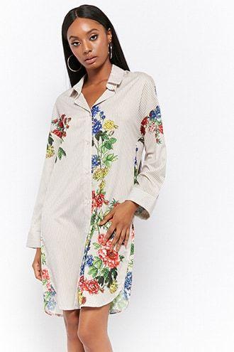 b99bdd7a3b Floral Striped Shirt Dress | Products | Striped shirt dress, Dresses ...