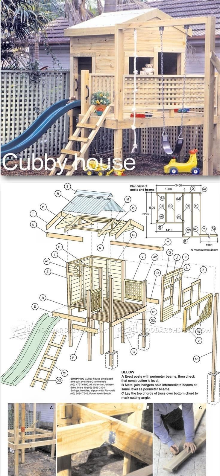 Backyard Playhouse Plans Children S Outdoor Plans And Projects Woodarchivist Com Outdoorplayhouseplans Back Rumah Bermain Rumah Pohon Rencana Pertukangan