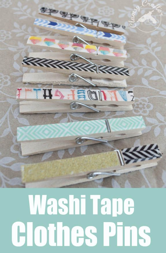 Washi Tape Craft: Covered Clothespins. Cute, simple and easy.