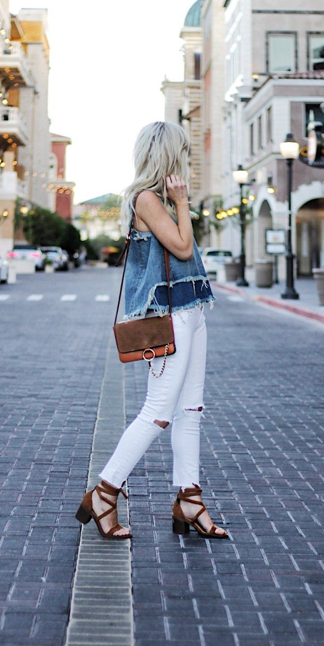 white ripped jeans, summer style, street, style, outfit, inspo, tan, sandals, chloe, bag, faye, bag, designer, denim top, paige, denim, edgy, outfit, casual, weekend, date night, las vegas, fashion blogger, fashion, style,