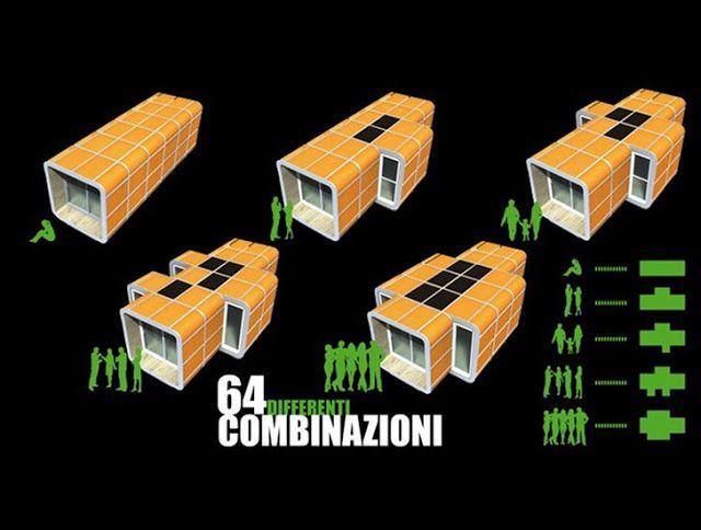 Sliding Hubs Prefab Modular Housing Has 64 Different Combinations                                                                                                                                                                                 More