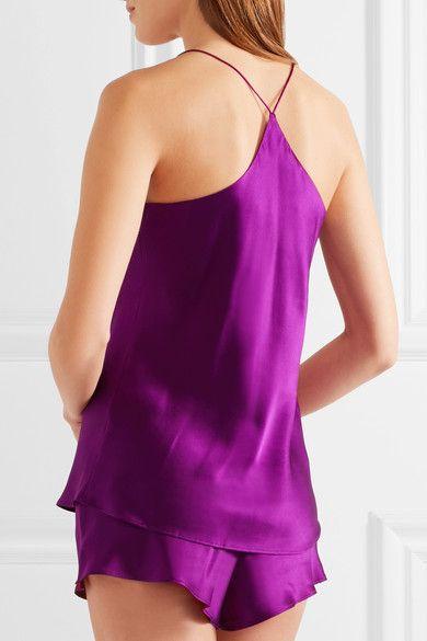 Olivia von Halle - Bella Silk-satin Pajama Set - Plum - 2