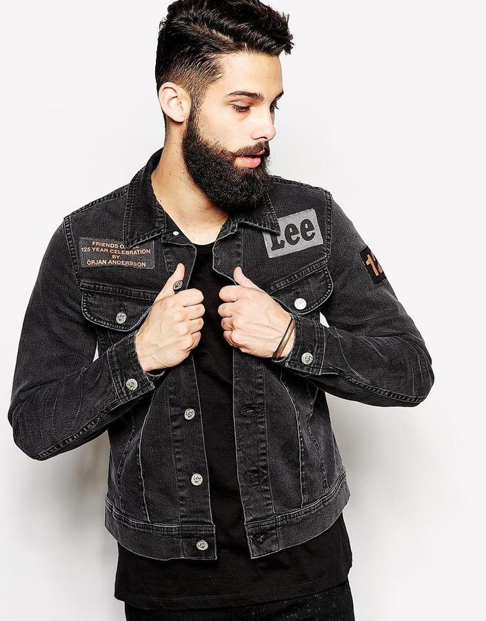 Denim Jacket By Orjan Andersson Slim Fit Rider Patch Black   Shops