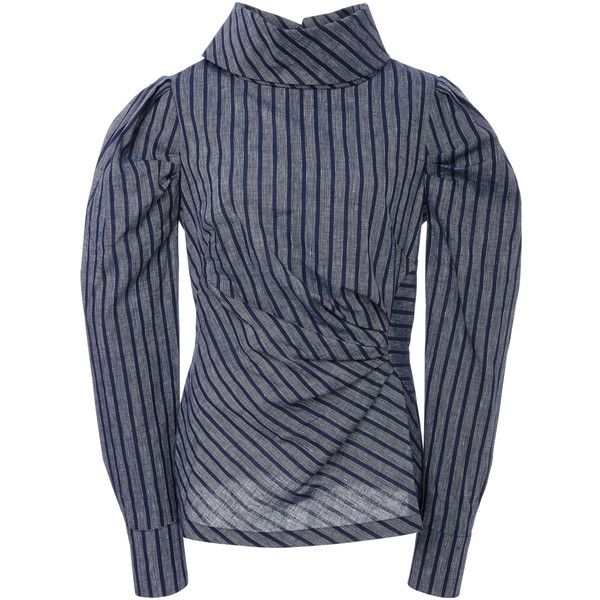 Acler Morgan Funnel Shirt (4.995.765 VND) ❤ liked on Polyvore featuring tops, navy, sleeve top, navy collared shirt, folding collared shirts, herringbone shirt and cinched waist top