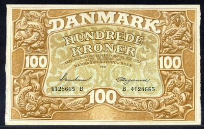 Old currency of Denmark 100 Kroner banknote  Obverse: Lettering and denomination surrounded by ornamentation of dolphins. Reverse: The national coat of arms of Denmark surround by sea-weed, held by two mermen in waves.