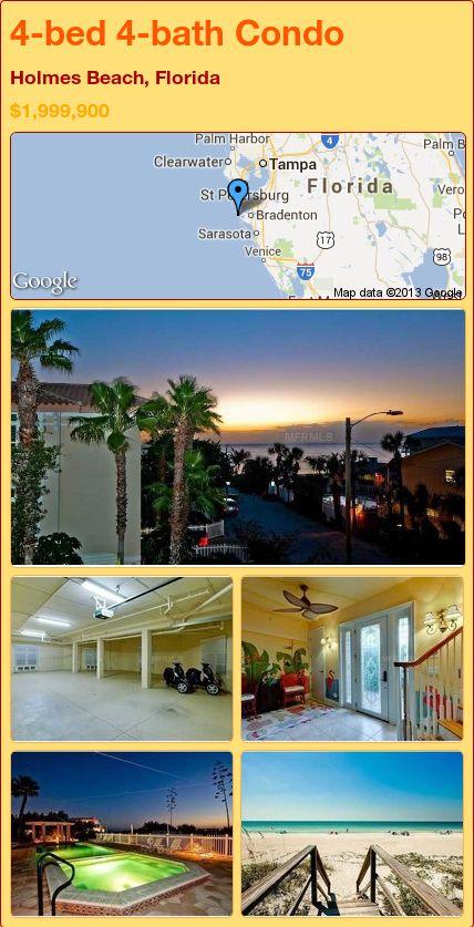 4-bed 4-bath Condo in Holmes Beach, Florida ►$1,999,900 #PropertyForSale #RealEstate #Florida http://florida-magic.com/properties/8435-condo-for-sale-in-holmes-beach-florida-with-4-bedroom-4-bathroom